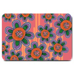 Colorful Floral Dream Large Doormat  by DanaeStudio