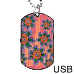 Colorful Floral Dream Dog Tag USB Flash (One Side)