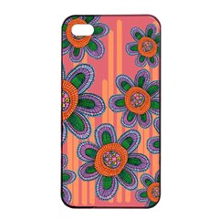 Colorful Floral Dream Apple iPhone 4/4s Seamless Case (Black)