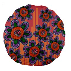 Colorful Floral Dream Large 18  Premium Round Cushions