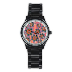 Colorful Floral Dream Stainless Steel Round Watch by DanaeStudio