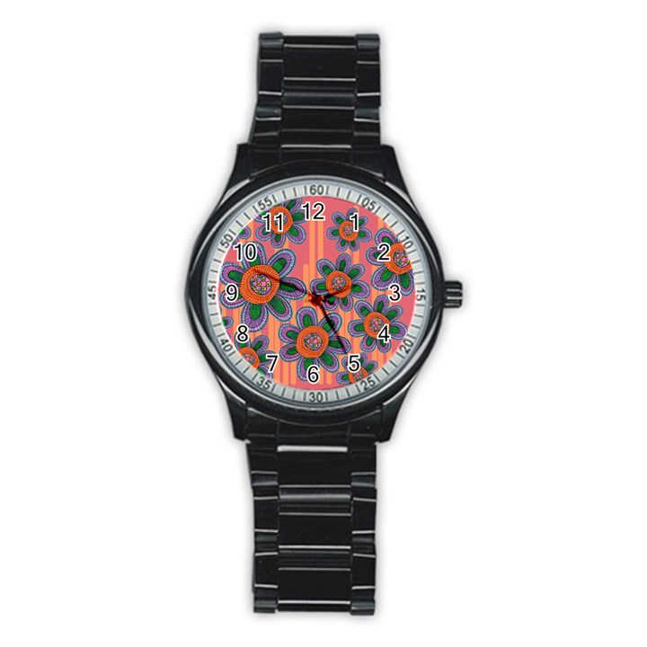 Colorful Floral Dream Stainless Steel Round Watch