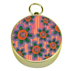 Colorful Floral Dream Gold Compasses by DanaeStudio