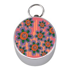 Colorful Floral Dream Mini Silver Compasses by DanaeStudio