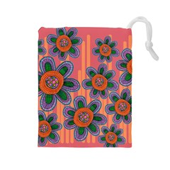 Colorful Floral Dream Drawstring Pouches (Large)