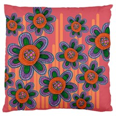 Colorful Floral Dream Large Flano Cushion Case (Two Sides)