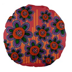 Colorful Floral Dream Large 18  Premium Flano Round Cushions