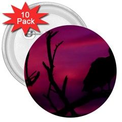 Vultures At Top Of Tree Silhouette Illustration 3  Buttons (10 pack)