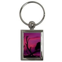 Vultures At Top Of Tree Silhouette Illustration Key Chains (Rectangle)