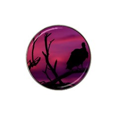 Vultures At Top Of Tree Silhouette Illustration Hat Clip Ball Marker