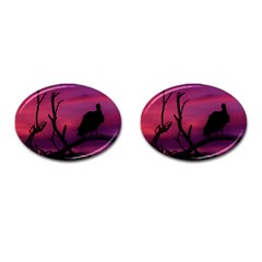 Vultures At Top Of Tree Silhouette Illustration Cufflinks (Oval)