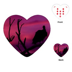 Vultures At Top Of Tree Silhouette Illustration Playing Cards (Heart)
