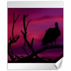Vultures At Top Of Tree Silhouette Illustration Canvas 16  x 20