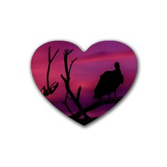 Vultures At Top Of Tree Silhouette Illustration Rubber Coaster (Heart)