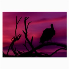 Vultures At Top Of Tree Silhouette Illustration Large Glasses Cloth (2-Side)
