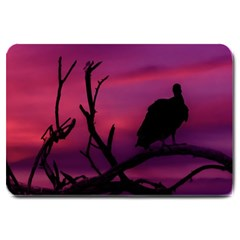 Vultures At Top Of Tree Silhouette Illustration Large Doormat