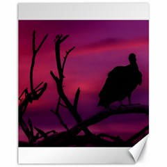 Vultures At Top Of Tree Silhouette Illustration Canvas 11  x 14