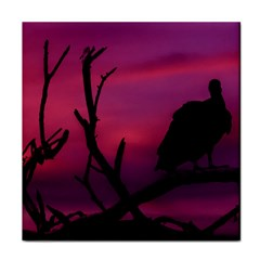 Vultures At Top Of Tree Silhouette Illustration Face Towel