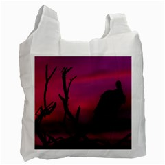 Vultures At Top Of Tree Silhouette Illustration Recycle Bag (Two Side)