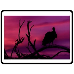 Vultures At Top Of Tree Silhouette Illustration Fleece Blanket (Large)