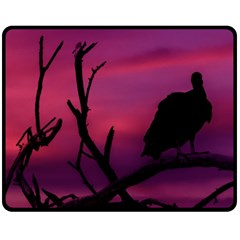 Vultures At Top Of Tree Silhouette Illustration Fleece Blanket (Medium)