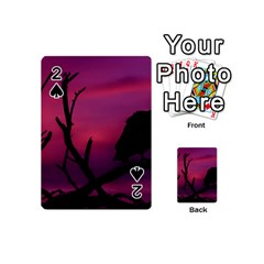 Vultures At Top Of Tree Silhouette Illustration Playing Cards 54 (Mini)