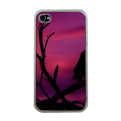 Vultures At Top Of Tree Silhouette Illustration Apple iPhone 4 Case (Clear)