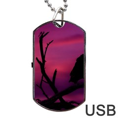 Vultures At Top Of Tree Silhouette Illustration Dog Tag USB Flash (One Side)