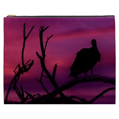 Vultures At Top Of Tree Silhouette Illustration Cosmetic Bag (XXXL)