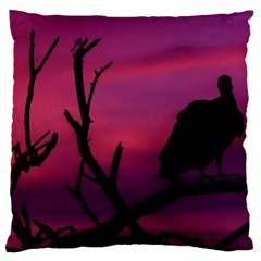 Vultures At Top Of Tree Silhouette Illustration Standard Flano Cushion Case (One Side)