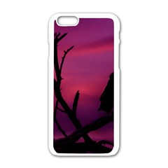 Vultures At Top Of Tree Silhouette Illustration Apple iPhone 6/6S White Enamel Case
