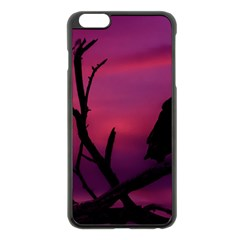 Vultures At Top Of Tree Silhouette Illustration Apple iPhone 6 Plus/6S Plus Black Enamel Case