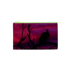 Vultures At Top Of Tree Silhouette Illustration Cosmetic Bag (XS)