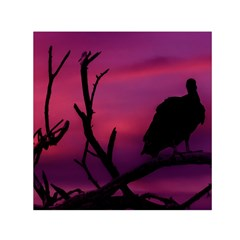 Vultures At Top Of Tree Silhouette Illustration Small Satin Scarf (Square)