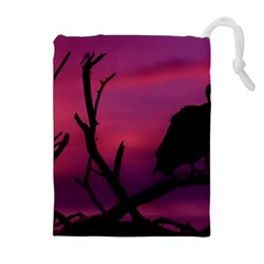 Vultures At Top Of Tree Silhouette Illustration Drawstring Pouches (Extra Large)