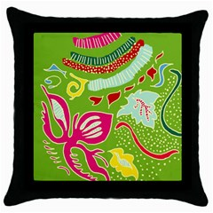 Green Organic Abstract Throw Pillow Case (black) by DanaeStudio