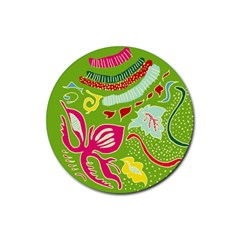 Green Organic Abstract Rubber Round Coaster (4 Pack)  by DanaeStudio