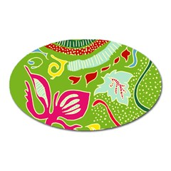 Green Organic Abstract Oval Magnet by DanaeStudio