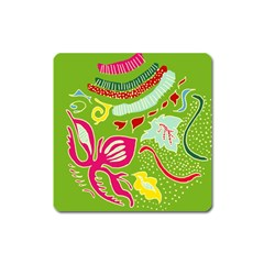 Green Organic Abstract Square Magnet by DanaeStudio