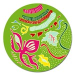 Green Organic Abstract Magnet 5  (Round) Front