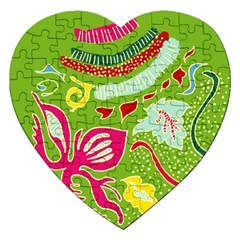 Green Organic Abstract Jigsaw Puzzle (heart) by DanaeStudio