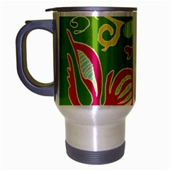 Green Organic Abstract Travel Mug (silver Gray) by DanaeStudio