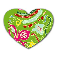 Green Organic Abstract Heart Mousepads by DanaeStudio