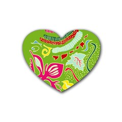 Green Organic Abstract Heart Coaster (4 Pack)  by DanaeStudio