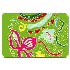 Green Organic Abstract Large Doormat  by DanaeStudio