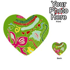 Green Organic Abstract Multi Purpose Cards (heart)  by DanaeStudio