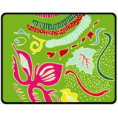 Green Organic Abstract Fleece Blanket (medium)  by DanaeStudio