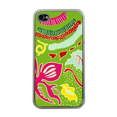 Green Organic Abstract Apple Iphone 4 Case (clear) by DanaeStudio