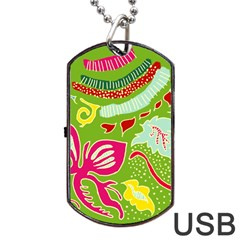 Green Organic Abstract Dog Tag Usb Flash (two Sides)  by DanaeStudio