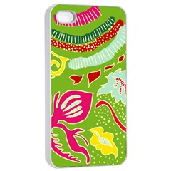 Green Organic Abstract Apple Iphone 4/4s Seamless Case (white) by DanaeStudio